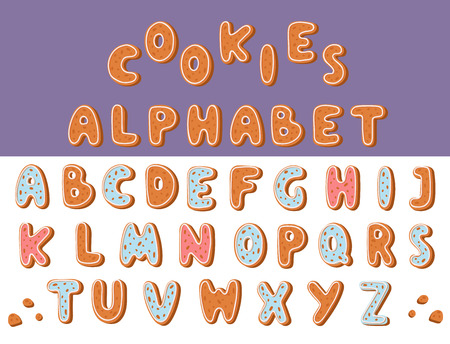 Gingerbread cookies alphabet holidays. Ginger cookie font text, food biscuit Xmas letter vector illustration. Merry Christmas and Happy New Year figures cover by icing-sugar. Illusztráció