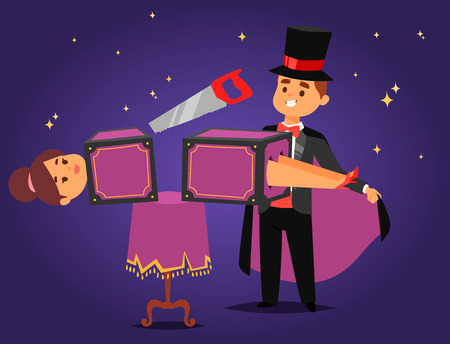 Magician prestidigitator illusionist vector character. Tricks juggler vector illustration, magic conjurer show cartoon man.