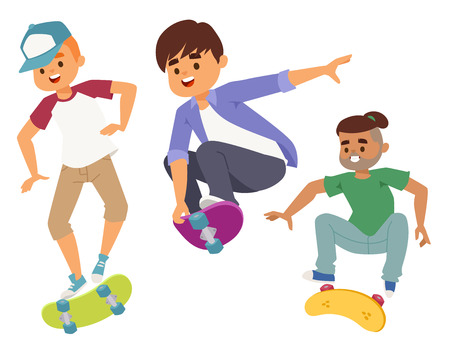 Skateboard characters, vector stylish skating kids illustration. Skate cartoon male activity extreme skateboarding icon. Иллюстрация