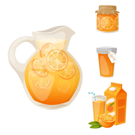 Oranges and orange products vector illustration. Natural citrus fruit vector, juicy tropical dessert. Beauty organic juice healthy food. Standard-Bild - 101094342