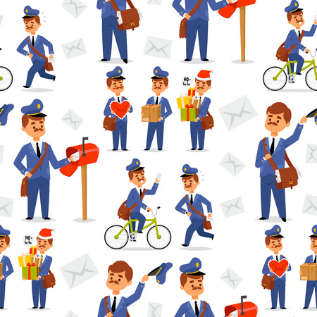 Postman delivery man character vector courier occupation carrier package mail shipping deliver professional people with envelope seamless pattern background.