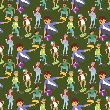 Skateboard characters vector stylish skating kids illustration skate cartoon male activity extreme skateboarding seamless pattern background.