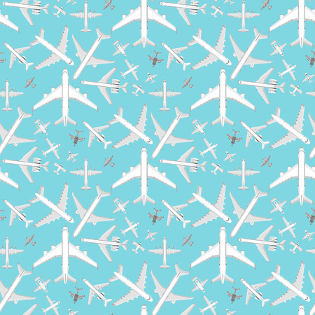 Airplane seamless pattern background vector illustration top view plane and aircraft transportation travel way design journey object. Banco de Imagens