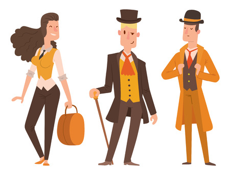Vintage victorian cartoon gents retro people vector. Style fashion old people victorian gentleman clothing antique century character victorian gent people vintage wild west man and woman style Vectores