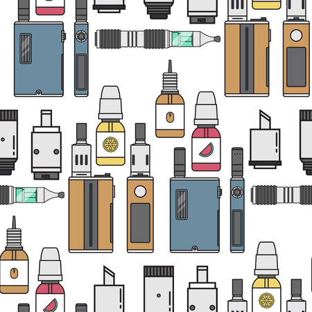 Vape device vector cigarette vaporizer vapor juice vape bottle flavor illustration battery coil electronic nicotine liquid smoking atomizer device e-liquid seamless pattern background.