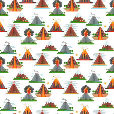 Volcano magma vector nature blowing up with smoke crater volcanic mountain hot natural eruption earthquake seamless pattern background illustration. Stock Illustratie