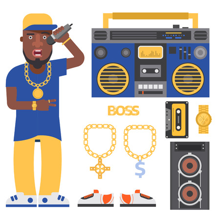 Hip Hop Mann Zubehör Musiker Vektor Zubehör Mikrofon Breakdance ausdrucksstark Rap moderne junge Mode Person Erwachsene Menschen Illustration. Vektorgrafik