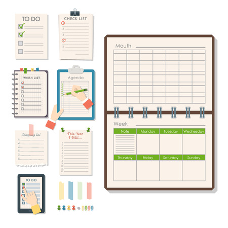 Agenda list vector business paper clipboard in flat style self-adhesive checklist notes schedule calendar planner organizer article illustration. Stock Vector - 101169634