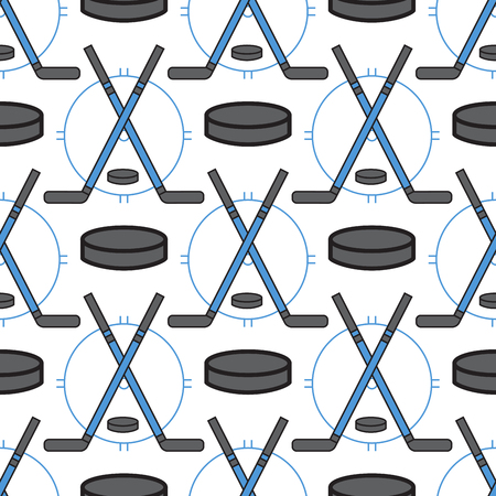 Sport hockey icons in flat design line pictogram fitness seamless pattern background game trophy competition dumbbell activity vector illustration. Illustration