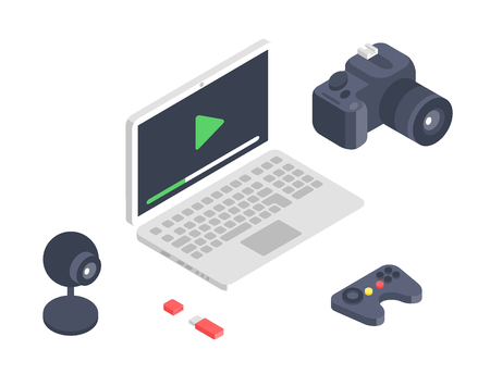 Isometric vector gadget computer devices icons wireless technologies mobile communication 3d illustration. Digital electronic technology isomerical tools technology. Illustration