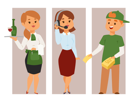 People part-time job professions vector set characters temporary job recruitment concept. Different workers or time unemployed. Young career start boys and girls part time workers opportunity looking 写真素材 - 101446101
