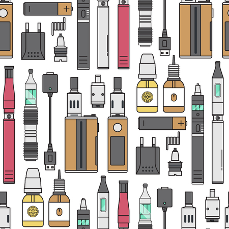Vape device vector cigarette vaporizer vapor juice vape bottle flavor illustration battery coil. Trend electronic nicotine liquid. Smoking vape atomizer device e-liquid seamless pattern background.