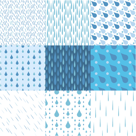 Rain drops seamless pattern background vector water blue nature raindrop abstract illustration Illustration