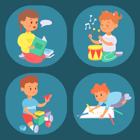Children playing vector different types of home games little kids play summer outdoor active leisure childhood activity. Illusztráció