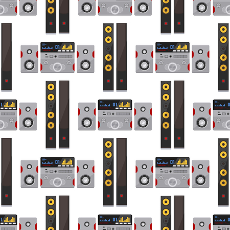 Acoustic sound system stereo flat vector seamless pattern background music loudspeakers player subwoofer equipment technology.