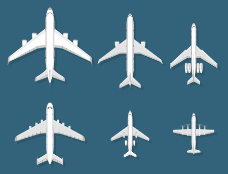 Airplane vector illustration top view plane and aircraft transportation travel way design journey object. 일러스트