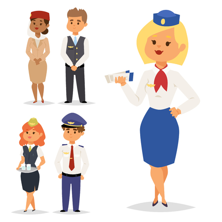 Pilots and stewardess vector illustration airline character plane personnel staff air hostess flight attendants people command. Ilustração