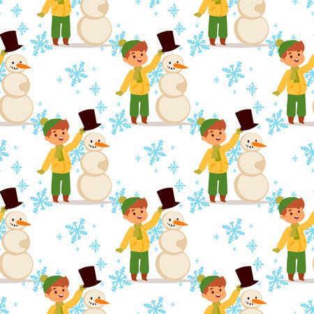 Christmas kid boy vector character playing winter games winter children holidays christmas snowman cartoon new year xmas kid seamless pattern background