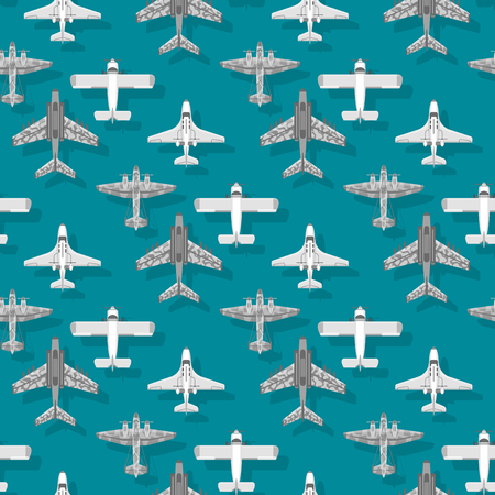Airplane seamless pattern background vector illustration top view plane and aircraft transportation travel way design journey object. Ilustração