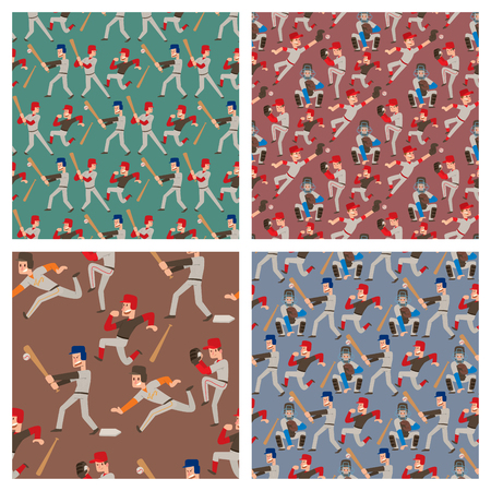 Baseball team player vector sport man in uniform game poses situation professional league sporty character winner seamless pattern background illustration.