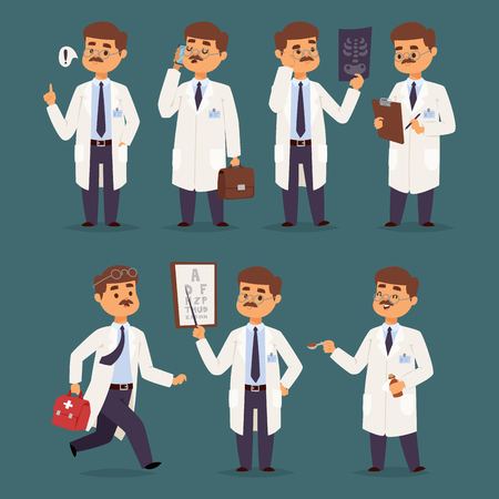 Doctor nurse character vector medical man staff flat design hospital team people doctorate illustration.
