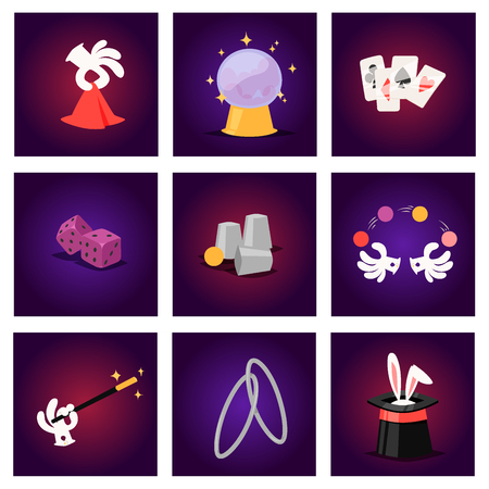 Magic effect trick vector symbol magician tools and surprise entertainment magical fantasy carnival mystery cartoon miracle decoration illustration.