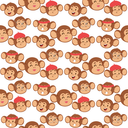 Monkeys rare animal vector cartoon macaque like people nature primate character wild zoo ape chimpanzee seamless pattern bakground illustration.