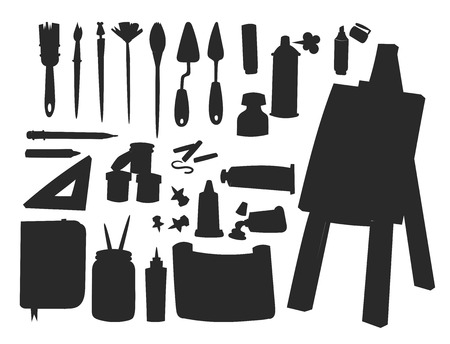 Painting art tools palette vector silhouette illustration details stationery creative paint equipment creativity artist instrument.