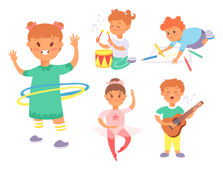 Children playing vector different types of home games little kids play summer outdoor active leisure childhood activity. Illustration