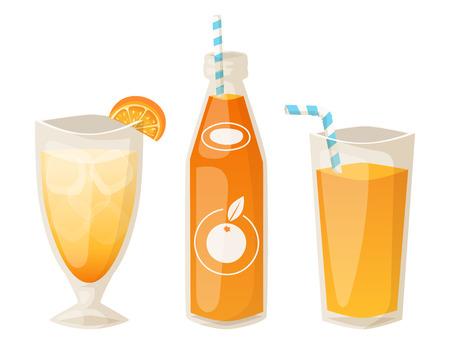 Oranges and orange products vector illustration natural citrus fruit vector juicy tropical dessert beauty organic juice healthy food. Standard-Bild - 102723915