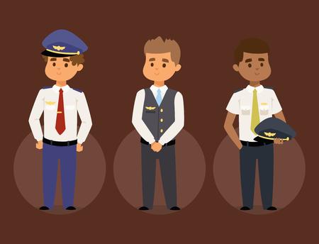 Pilotes et hôtesse de l'air vector illustration compagnie aérienne caractère avion personnel personnel hôtesse de l'air agents de bord commande de personnes