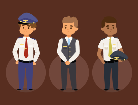 Pilots and stewardess vector illustration airline character plane personnel staff air hostess flight attendants people command. Standard-Bild - 102723916