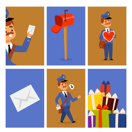 Postman delivery man character vector cards courier occupation carrier package mail shipping deliver professional people with envelope. Stock Illustratie