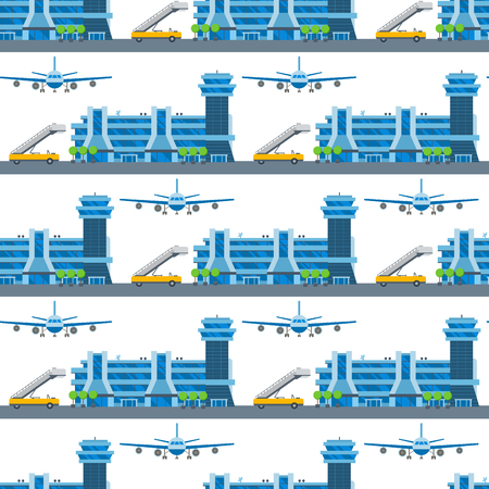 Airplane seamless pattern background vector illustration top view plane and aircraft transportation travel way design journey object. Ilustração