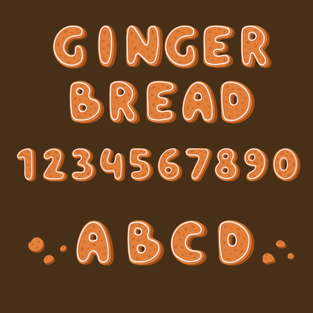 Gingerbread cookies alphabet holidays ginger cookie font text food biscuit xmas letter vector illustration  イラスト・ベクター素材