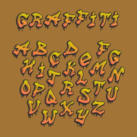 Graffity alphabet vector hand drawn grunge font paint symbol design ink style texture typeset 일러스트