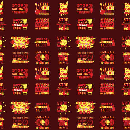 Sport motivational logo vector seamless pattern background hand drawn element banner gym crossfit trainings motivation text lettering illustration. Ilustração