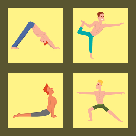 Yoga positions mans characters class vector card illustration meditation male concentration human peace sport lifestyle relaxation health exercise.