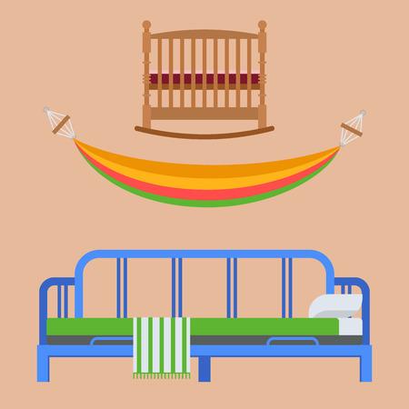 Sleeping furniture vector design bedroom exclusive bed interior room comfortable home relaxation apartment decor illustration night bedding sleep hammock.