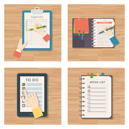 Agenda list vector business paper clipboard in flat style self-adhesive checklist notes schedule calendar planner organizer article illustration. Stock Illustration - 102724018