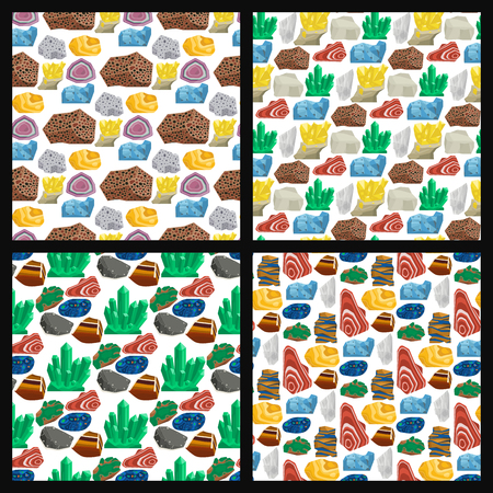 Semi precious gemstones vector stones and mineral stone seamless pattern background dice colorful shiny crystalline mineral jewelry illustration. Stockfoto - 102724023