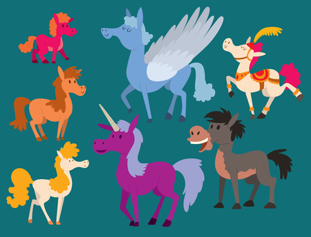 Horse pony stallion vector breeds color farm equestrian mammal domestic animal mane zoo character illustration. Banque d'images - 102724027