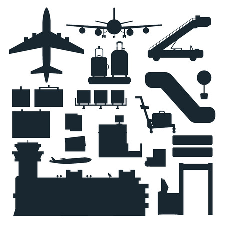 Aviation icons vector silhouette airline graphic airplane airport transportation fly travel symbol illustration