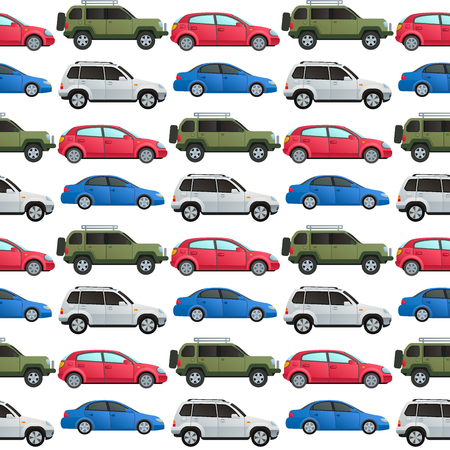 Car auto vehicle transport type design travel race model technology style and generic automobile contemporary kid toy seamless pattern background vector illustration.