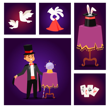 Magician prestidigitator illusionist vector character tricks juggler vector illustration magic conjurer show cartoon man