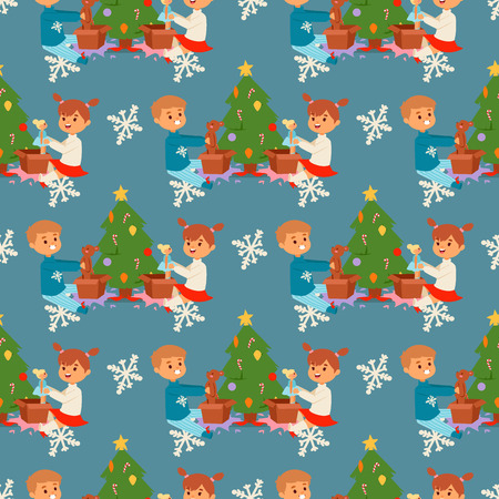 Christmas kids vector character playing winter games winter children holidays christmas tree cartoon new year xmas kid seamless pattern background Illustration