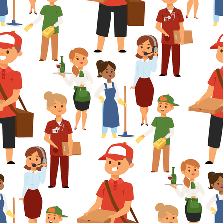People part-time job professions vector set characters temporary job recruitment concept. Different workers or time unemployed. Young career start boys and girls part time workers opportunity looking Reklamní fotografie - 103545408