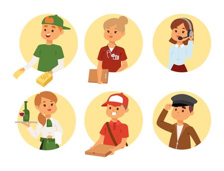 Menschen Teilzeit Job Berufe Vektor Set Zeichen temporäre Job-Rekrutierungskonzept. Verschiedene Arbeiter oder Zeitarbeitslose. Junge Karriere beginnen Jungen und Mädchen Teilzeitarbeiter Gelegenheit suchen Vektorgrafik
