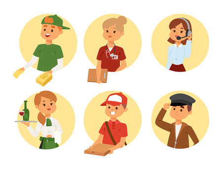 People part-time job professions vector set characters temporary job recruitment concept. Different workers or time unemployed. Young career start boys and girls part time workers opportunity looking Reklamní fotografie - 103545435
