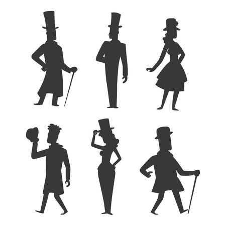 Vintage victorian cartoon gents retro people vector. Style fashion old people victorian gentleman clothing antique century character victorian gent people vintage wild west man and woman style Stok Fotoğraf